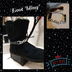 Accessories - Wide silver chain boot bling with leather accents